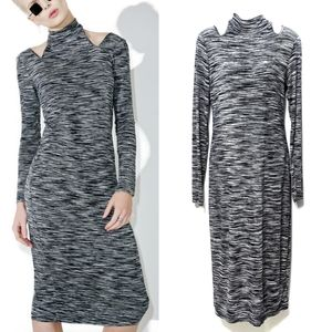 {OBEY} Zoey Cut-Out Long Sleeve Midi Dress M